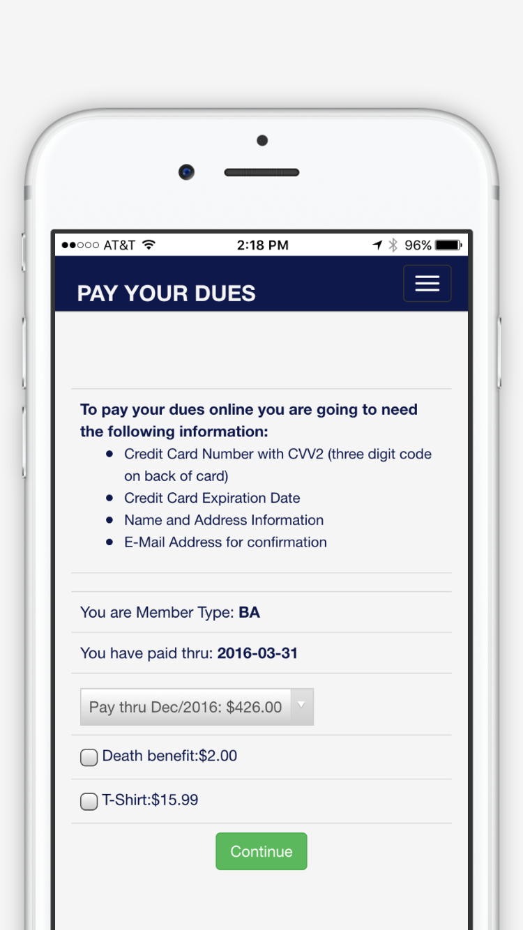 Dues Payment Module
